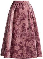 Erdem Teresa gathered-waist velvet-devoré midi skirt