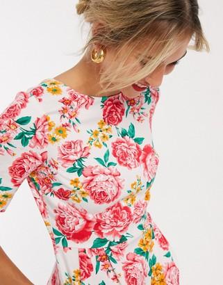 ASOS DESIGN wiggle mini dress in floral print