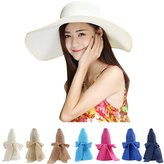 Aerusi Straw Bowknot Roll Up Large Wide Brim Floppy Caps Beach Sun Hat