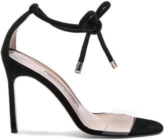 Manolo Blahnik Suede Estro 105 Sandals in Black Suede | FWRD