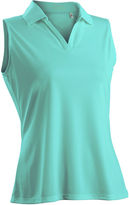 Asstd National Brand Luster Sleeveless Plus Sleeveless Knit Polo Shirt Plus