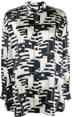 Odeeh Abstract-Print Silk Shirt