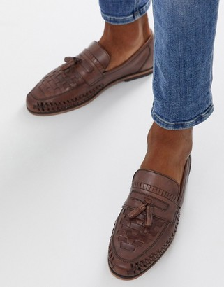 Asos Design DESIGN Loafers In Woven Tan Leather With Tassel Detail-Brown