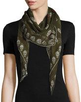 Alexander McQueen Skull Kisses Silk Foulard Scarf, Olive/Gray