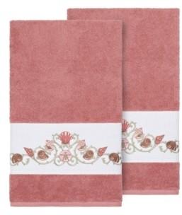 Linum Home Bella 2-Pc. Embroidered Turkish Cotton Bath Towel Set Bedding