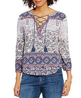 Lucky Brand Paisley Border Print Lace-Up Neck Knit Top