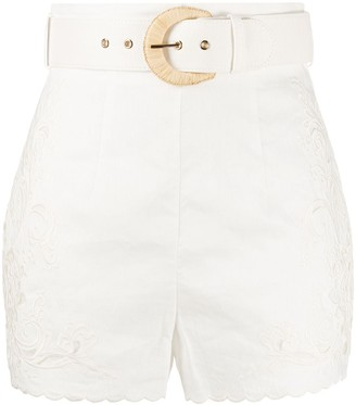 Zimmermann Peggy embroidered high-rise shorts