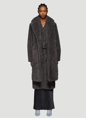 Helmut Lang Detachable Collar Faux Fur Coat in Grey