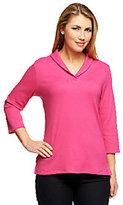 Denim & Co. Essentials Shawl Collar 3/4 Sleeve Rib Knit Top