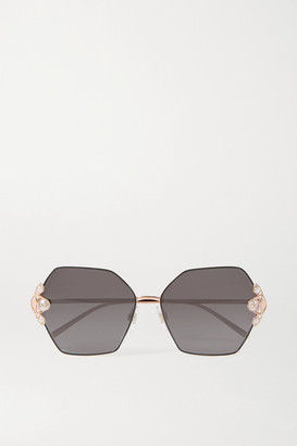 Dolce & Gabbana Faux Pearl-embellished Hexagon-frame Gold-tone Sunglasses - Gray