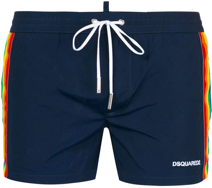 DSQUARED2 rainbow web swimming shorts