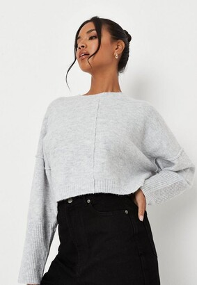 Missguided Grey Co Ord Seam Front Knitted Jumper