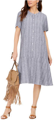 Style&Co. Style & Co Striped Button-Front A-Line Dress