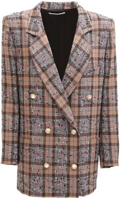 Alessandra Rich Check Double Breast Wool Blend Jacket