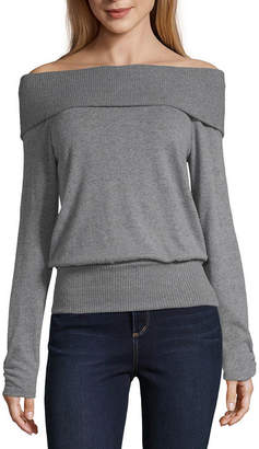 BY AND BY by&by-Juniors Womens Straight Neck Long Sleeve Pullover Sweater