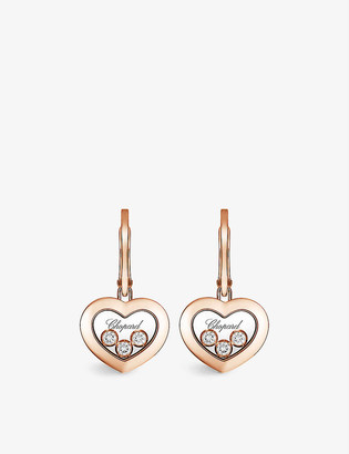 Chopard Happy Diamonds 18ct rose-gold and diamond earrings