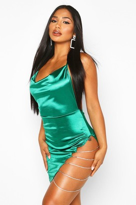 boohoo Stretch Satin Cowl Neck Diamante Mini Dress