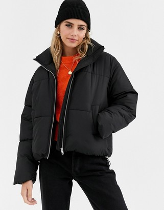 New Look boxy puffer jacket in black