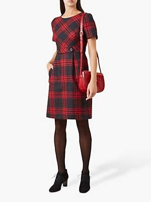 Hobbs Elea Check Wool Dress, Red Charcoal