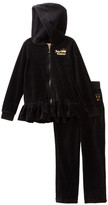 Juicy Couture Black Velour Ruffle Bottom Hoodie & Pant Set (Toddler Girls)