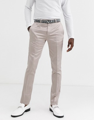 Twisted Tailor skinny suit trouser in champagne sateen