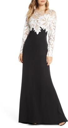 Tadashi Shoji Embroidered Long Sleeve Evening Gown