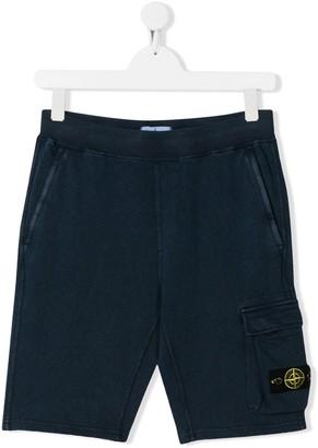 Stone Island Junior flap pocket logo patch shorts