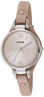 Fossil Georgia Bone Leather Watch / Analogue Women's Wrist Watch with Thin Vintage Leather Band and Waterproof Silver Case in Gift Box - Boyfriend Design with Beige Dial