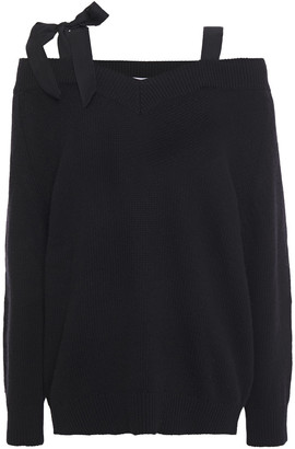 RED Valentino Cold-shoulder Grosgrain-trimmed Wool Sweater