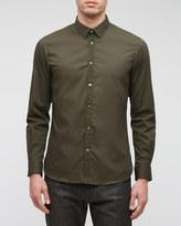 Stretch Poplin Grosgrain Slim Shirt