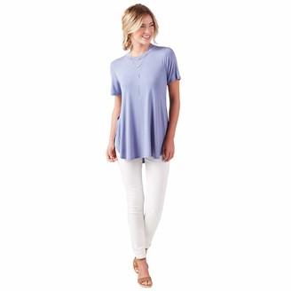 Mud Pie Short Sleeve Women's Rayon Spandex Tucker Jersey Tunic Stonewash Blue Small/Medium