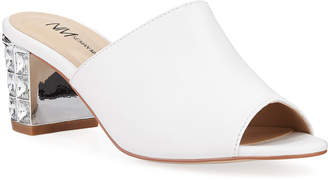 Neiman Marcus Carly Jewel-Heel Mule Sandals