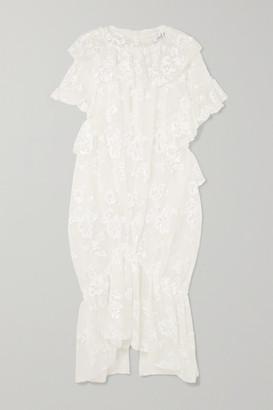 Simone Rocha Ruffled Gathered Sequin-embellished Tulle Midi Dress - Ivory