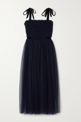 Molly Goddard Marta Velvet-trimmed Shirred Tulle Midi Dress - Navy