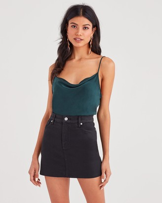 7 For All Mankind Cowl Neck Tank in Dark Forest Green