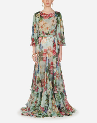 Dolce & Gabbana Long Floral-Print Chiffon Dress