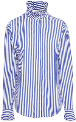 Claudie Pierlot Ruffle-trimmed Striped Cotton-poplin Shirt