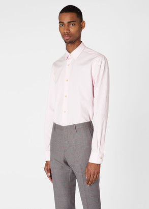Paul Smith Men's Tailored-Fit Pink Cotton 'Artist Stripe' Cuff Shirt