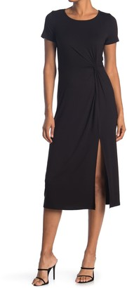 WEST KEI Short Sleeve Twist Front Slit Jersey Midi Dress