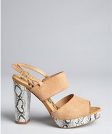 Kelsi Dagger camel suede slingback snake printed 'Bobbyjo' sandals