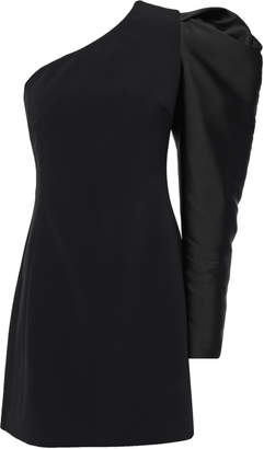 David Koma One-shoulder Duchesse Satin-paneled Stretch-cady Mini Dress