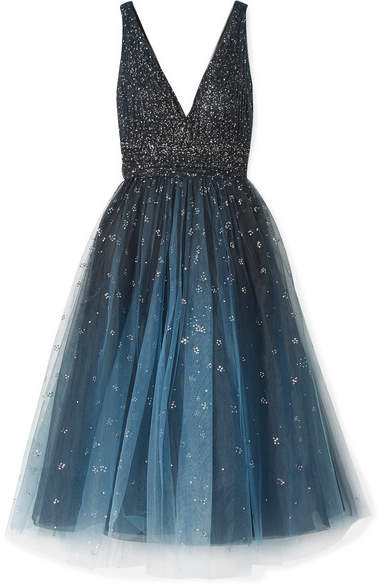Marchesa Embellished Ombré Tulle Gown - Navy