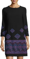 Taylor Embroidered Shift Dress, Black Wine