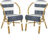 One Kings Lane Set of 2 Aiyana Stacking Armchairs - Navy/White