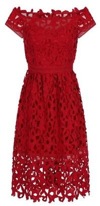 Dorothy Perkins Womens *Chi Chi London Red Bardot Crochet Dress, Red
