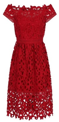 Dorothy Perkins Womens Chi Chi London Red Bardot Crochet Dress, Red