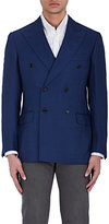 Luciano Barbera MEN'S CASHMERE-BLEND HOPSACK DOUBLE-BREASTED COAT