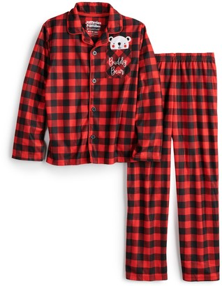 Cuddl Duds Boys 4-14 Jammies For Your Families Cool Bear Plaid Top & Pants Pajama Set