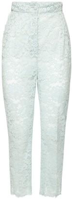 Dolce & Gabbana High Waist Sheer Lace Straight Leg Pants