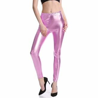 Skiskis Women Punk Rock Style PU Faux Leather Leggings Purple Gold Metallic Sexy Bright Sequin Pants Shining Fitness Legging K030 Pure Pink XXL